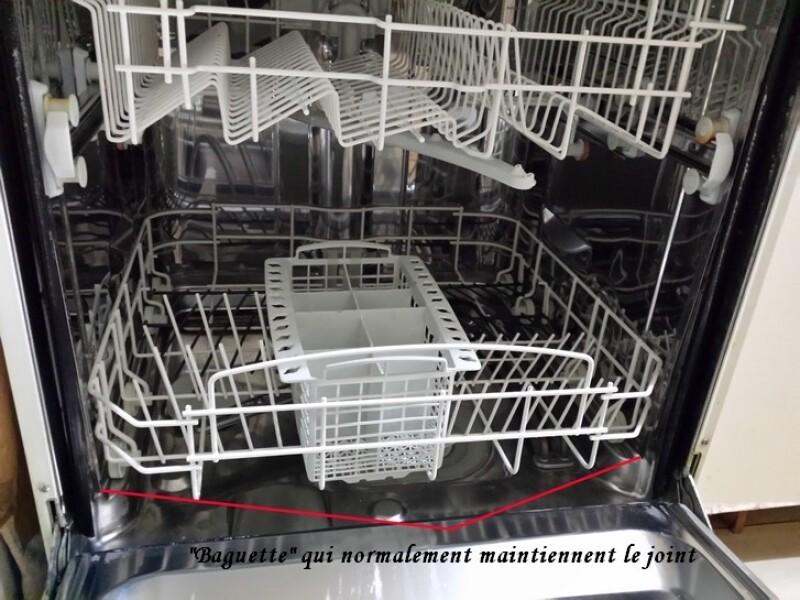 lave-vaisselle - baguette retenant le joint sur lave-vaisselle