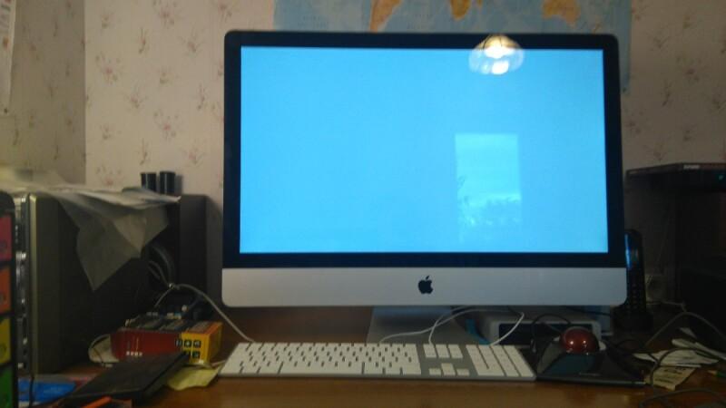Créatif bureau imac pour une série de bureaux pour mac press focus
